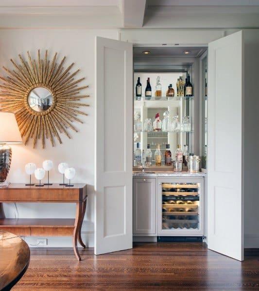 Hidden Mirror Wall With Doors Wet Bar Ideas