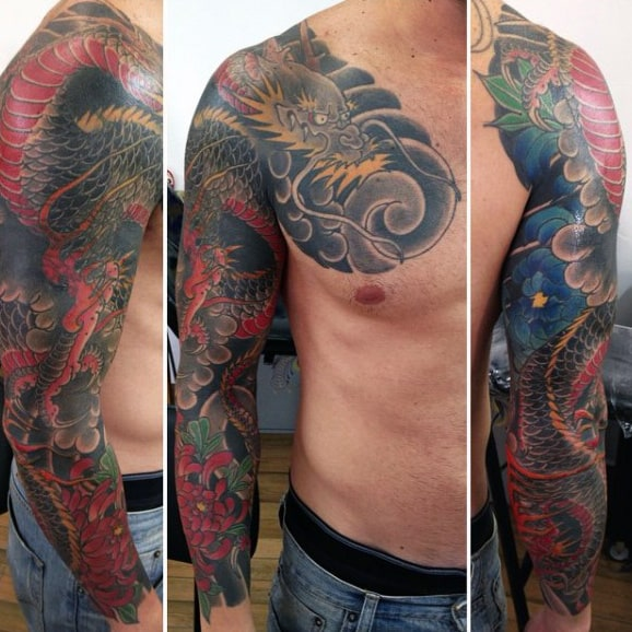 Hideous Dragons Tattoo Male Sleeves