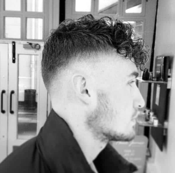 High Fade Curly Mens Hairstyle Short Length