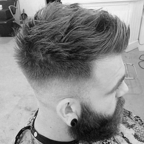 High Fade Mens Faux Hawk Haircut With Beard