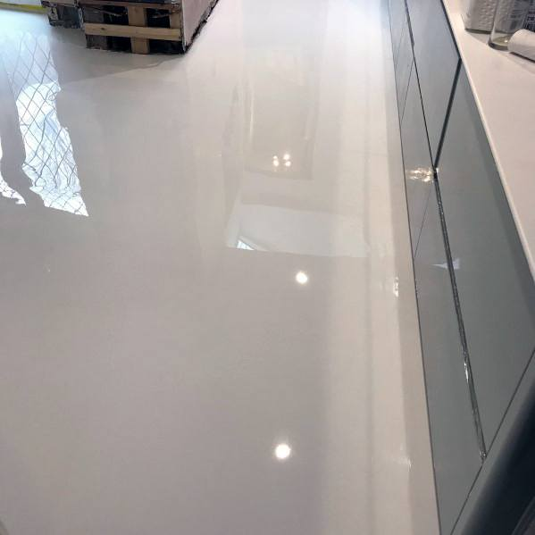 High Gloss Epoxy White Flooring For Kitchens