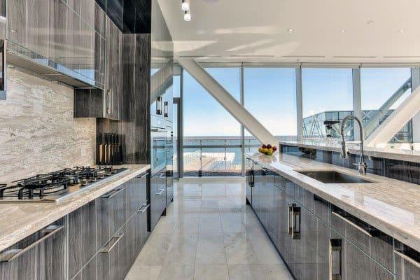 High Gloss Woodgrain Modern Kitchen Cabinet Ideas