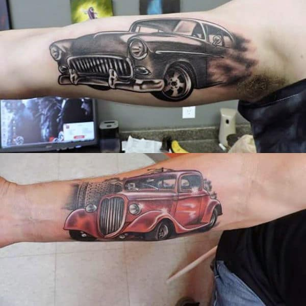 High Powered Hot Rod Tattoo Male Forearms