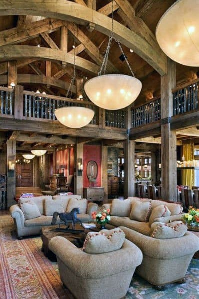 High Wood Beams Vaulted Living Room Cabin Ceiling Ideas