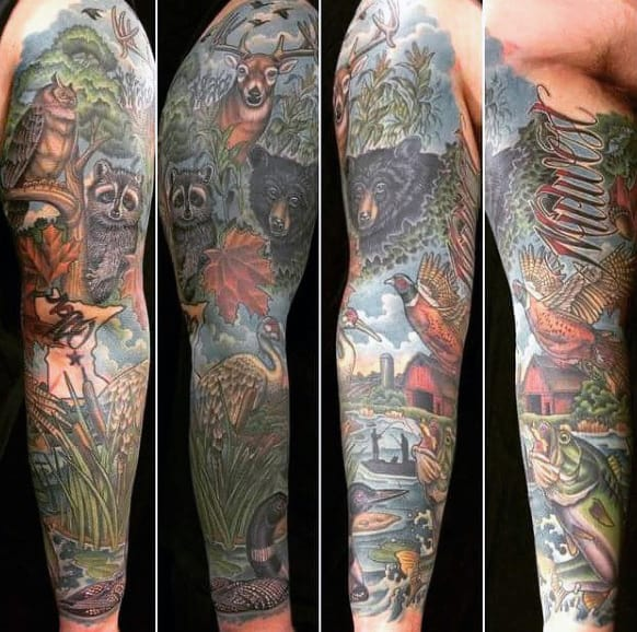 Highly Detailed Nature Scene Sleeve With Bass Bear Deer Animals On Male