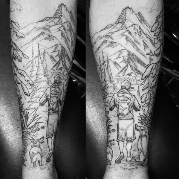 Hiking Tattoo Designs On Men