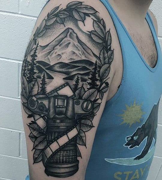 Hilly Landscape And Camera Tattoo Male Arms