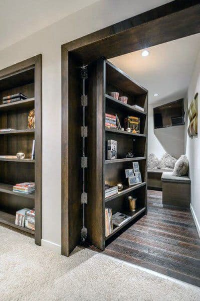 Hinged Dark Stained Wood Bookcase Hidden Door Ideas