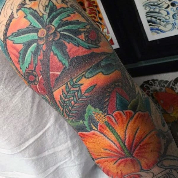 Hip Orange Palm Tree Painting Tattoo On Arms For Male