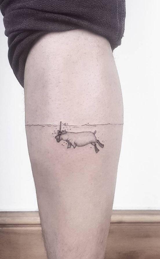 Hippo Small Funny Tattoo