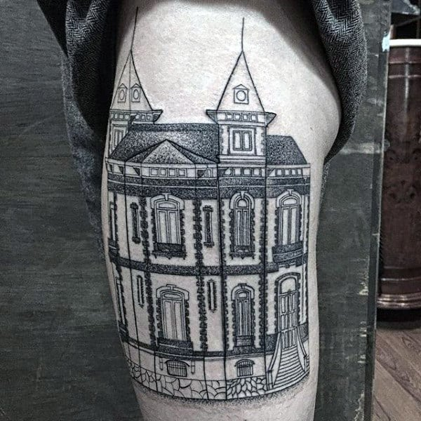 Historic Building Mens Thigh Tattoos
