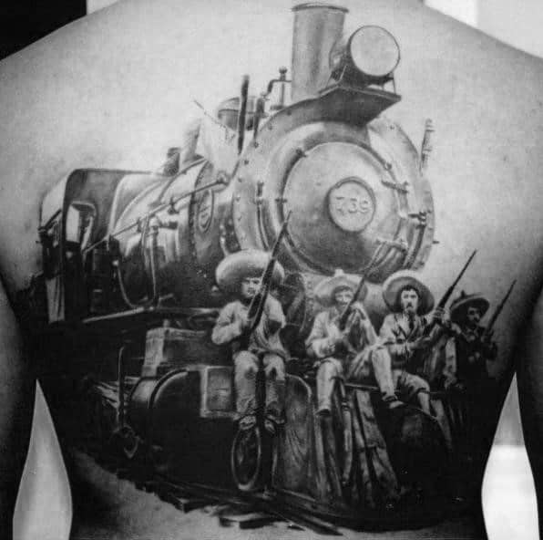 Historic Wartime And Railway Engine Realism Tattoo Mens Back