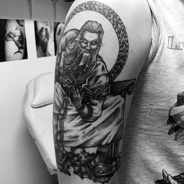 Historical Deep Myth Tattoos On Upper Arms For Men