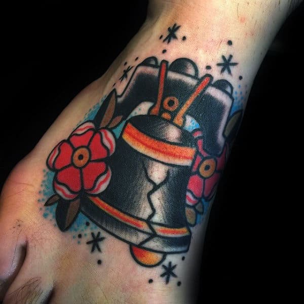 Historical Liberty Bell Male Foot Old School Tattoo Designs
