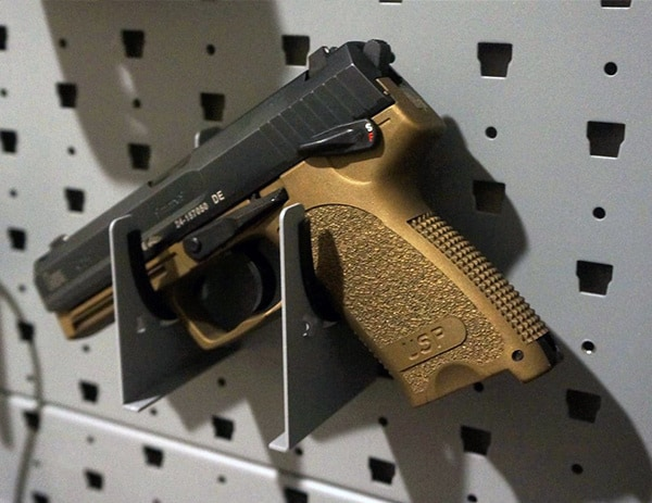 Hk Usp 9 Burnt Bronze Handgun Mounted On Pistol Hanger