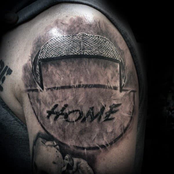 Hockey Goal Guy Upper Arm Tattoos