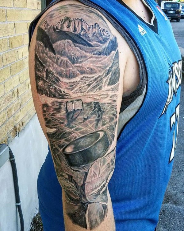 Hockey Player On Ice With Pucky Mens Half Sleeve Tattoos