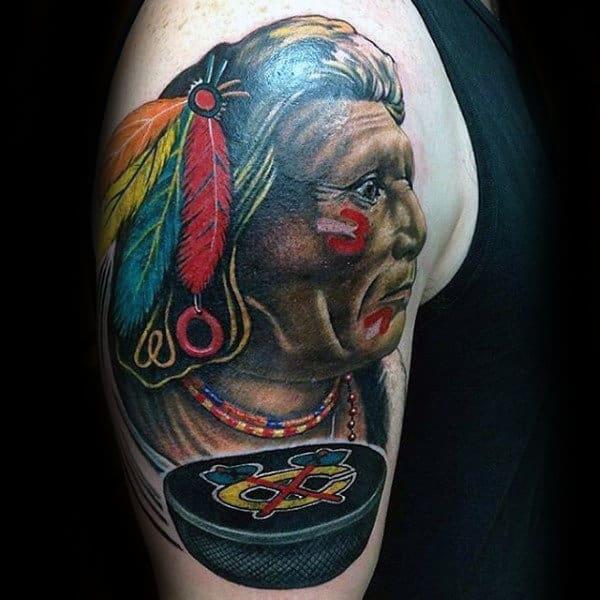 Hockey Puck Chicago Blackhawks Mens Upper Arm Tattoo Ideas