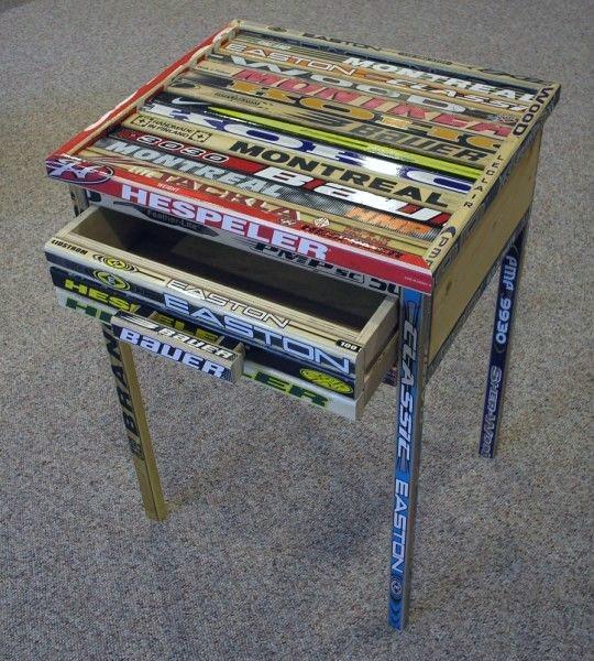 Hockey Stick Side Table Unique Diy Man Cave Ideas
