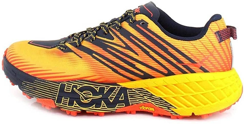 hoka one one mens speedgoat 4 trail runner in yellow color