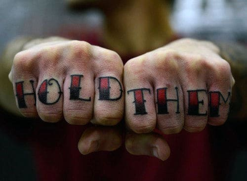 Hold Them Lettering Knuckle Mens Tattoos