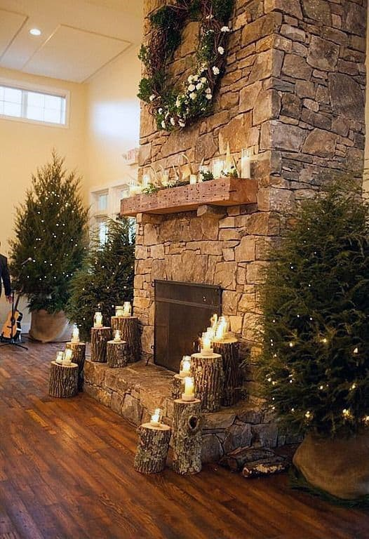 Holiday Themed Stone Fireplace Design