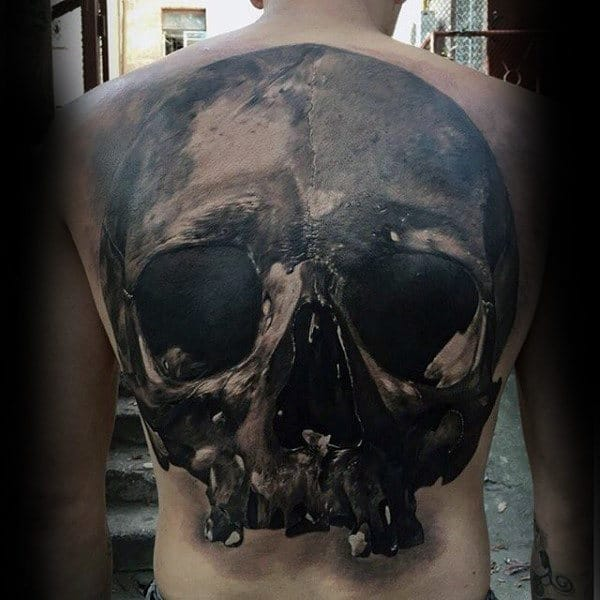 Hollow Dark Eyed Sick Skull Tattoo Male Back