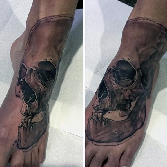 Hollow Eyed Skull Tattoo On Foot For Men