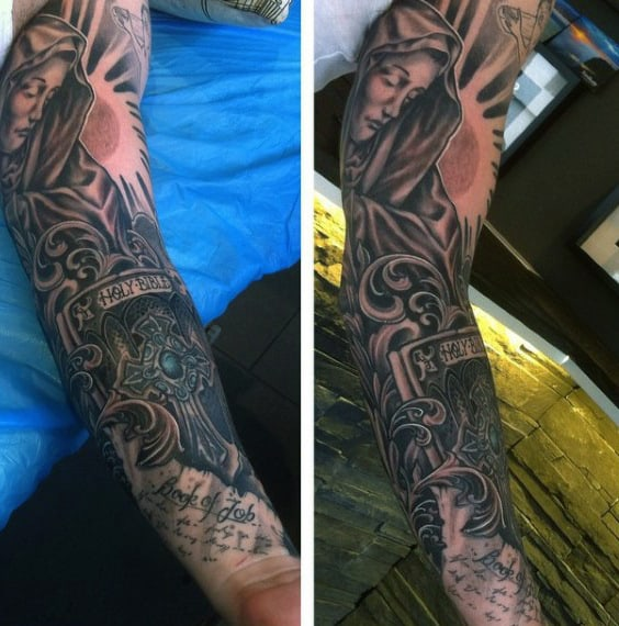 Holy Bible Christian Sleeve Tattoo For Men