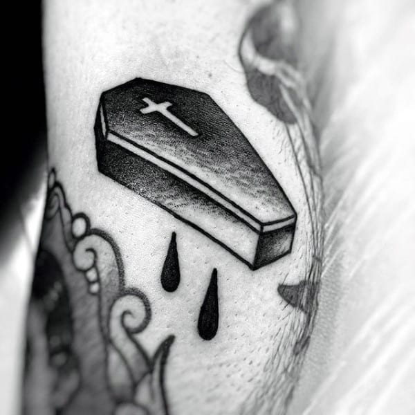 Holy Cross Coffin Tattoo With Tear Drops For Men