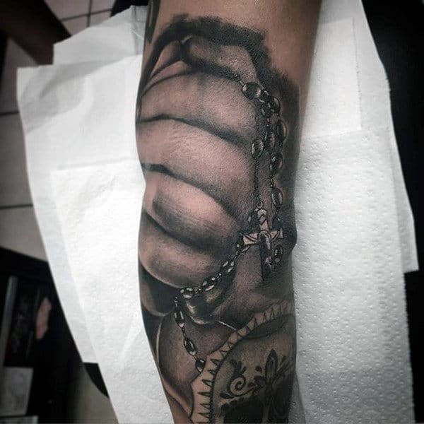 Holy Rosary Male Tattoo Designs With Hand