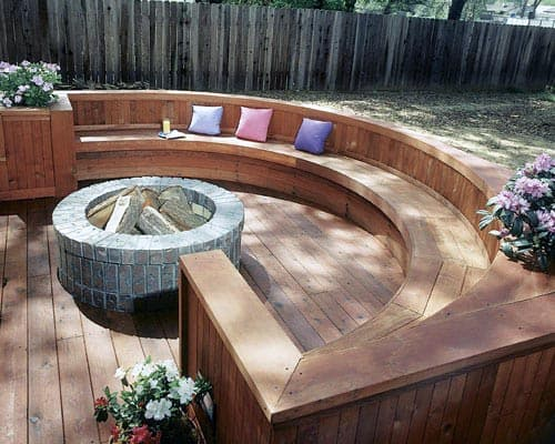 Home Backyard Curved Wood Deck Fire Pit
