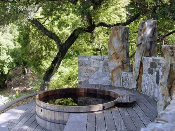 Home Backyard Designs Circle Wood Hot Tub Deck
