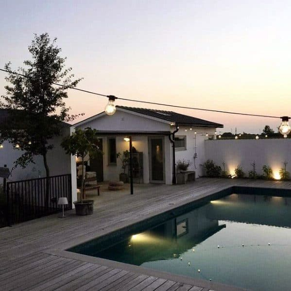 Home Backyard Designs Patio String Light Over Swimming Pool