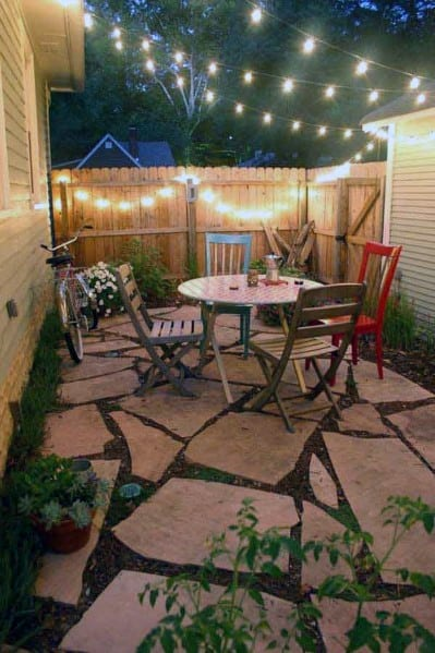 Home Backyard Flagstone Patio String Light