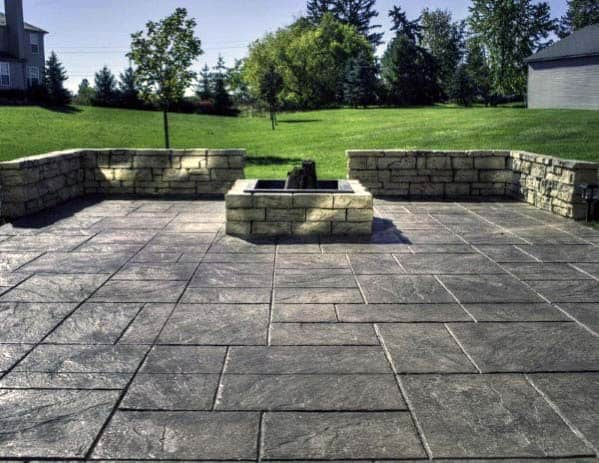 Home Backyard Stamped Concrete Patio