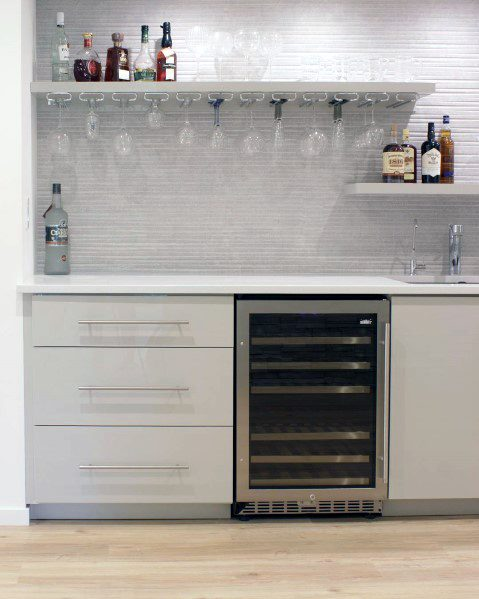 Home Bar Design Ideas White Stone Backsplash