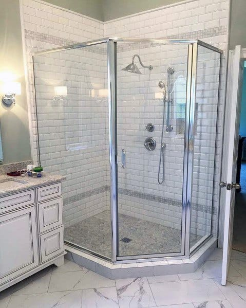 Home Bathroom Corner Shower White Subway Tile