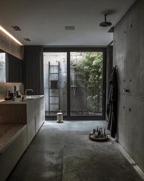 Home Bathroom Grey Color Ideas Open Shower