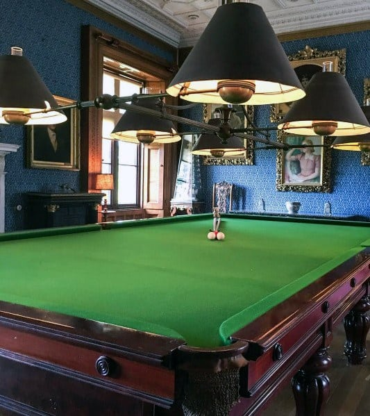 Home Billiards Room Ideas With Blue Walls And Vintage Decor