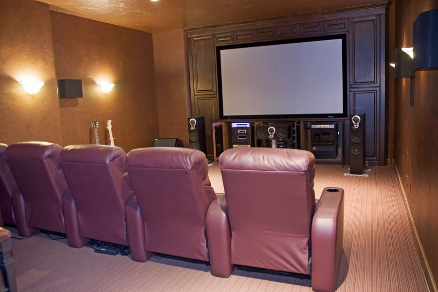 Interior Designs Home Theater Seatings Rustic Brown Leather