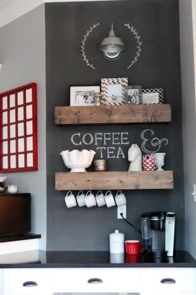 Top 60 Best Coffee Bar Ideas - Cool Personal Java Cafe Designs