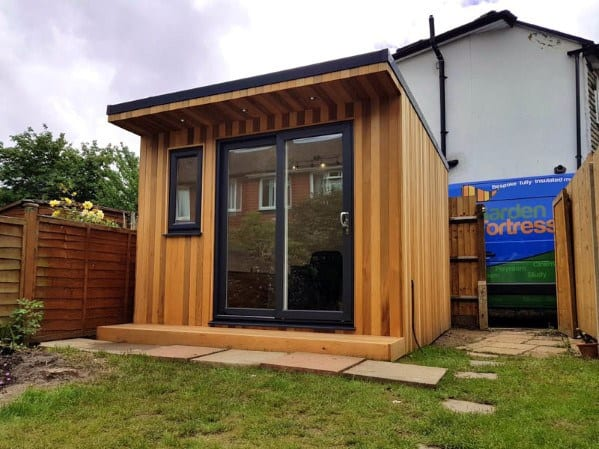 Home Design Ideas Backyard Shed With Glass Sliding Doors