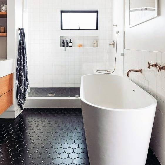hex tiles bathroom floor tile ideas