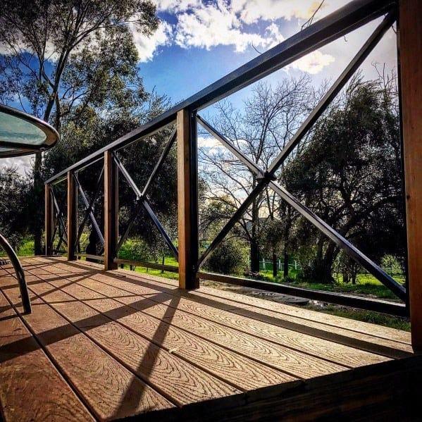 Home Design Ideas Crossed Metal Bars Deck Railing