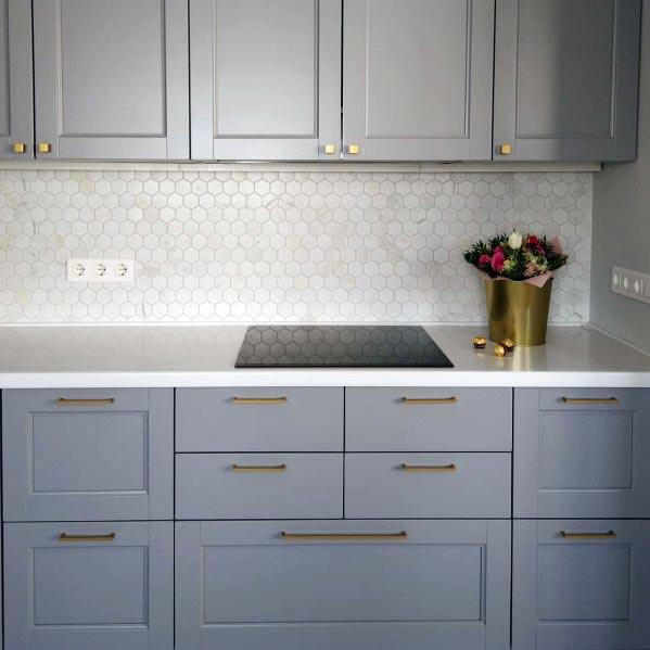 Home Design Ideas Grey Kitchen Cabinet Ideas With Gold Pull Handles