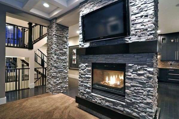 Home Design Ideas Stacked Stone Fireplace