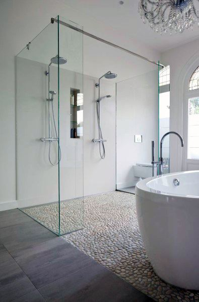 Home Design Ideas White Bathroom Pebble Stone Tile Flooring
