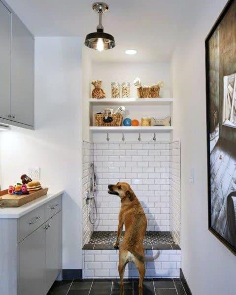 Home Dog Washing Station Designs White Tile