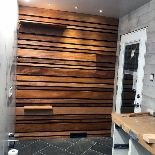 Home Entry Mudroom Luxury Wood Wall With Slats For Shelves